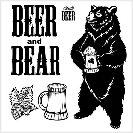 Vector set for craft beer - beer and bear in hand drawn style. isolated on white background