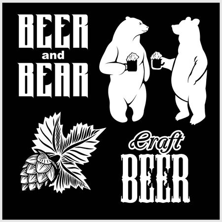 Vector set for craft beer - beer and bear in hand drawn style. isolated on black. Illusztráció