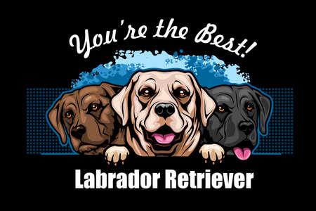 White, Brown and Black Labrador Retriever - vector peeking dog head, dog breed