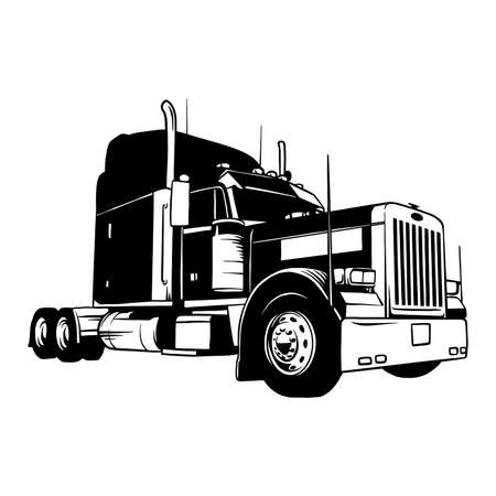 American Truck - black and white vector illustration