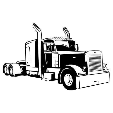 American Truck - black and white vector illustration Vektorové ilustrace