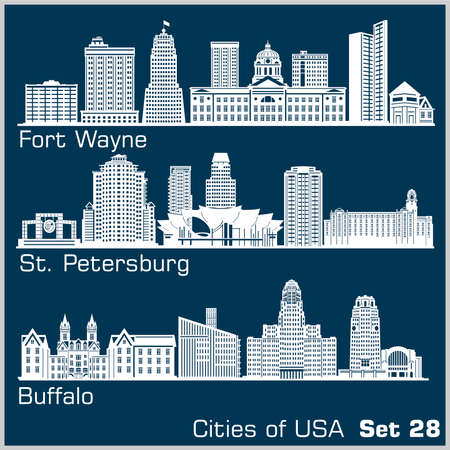 Cities of USA - Fort Wayne, St. Petersburg, Buffalo. Detailed architecture. Trendy vector illustration.