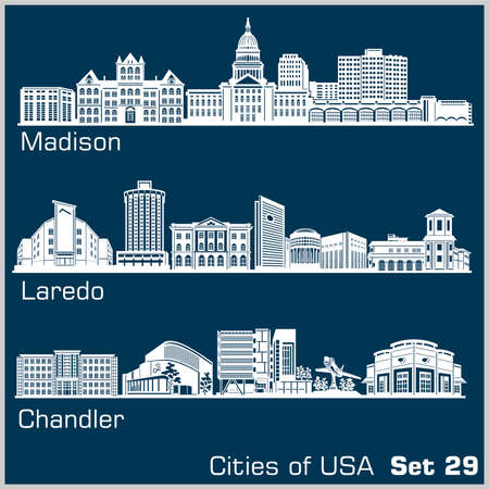 Cities of USA - Madison, Laredo, Chandler. Detailed architecture. Trendy vector illustration.