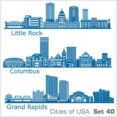 Cities of USA - Grand Rapids, Columbus, Little Rock. Detailed architecture. Trendy vector illustration. Illusztráció