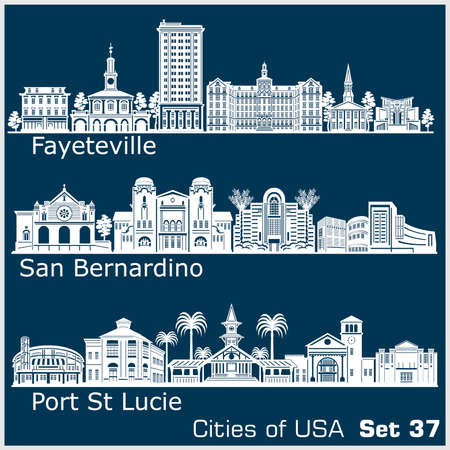 Cities of USA - San Bernardino, Fayetville, Port St. Lucie. Detailed architecture. Trendy vector illustration.