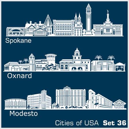 Cities of USA - Oxnard, Modesto, Spokane. Detailed architecture. Trendy vector illustration.