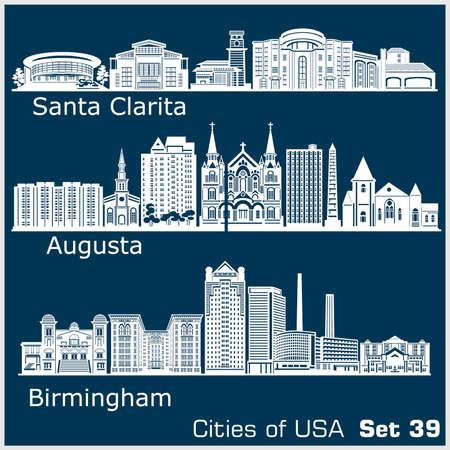 Cities of USA - Birmingham, Santa Clarita, Augusta. Detailed architecture. Trendy vector illustration. 矢量图像