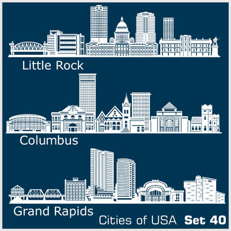 Cities of USA - Grand Rapids, Columbus, Little Rock. Detailed architecture. Trendy vector illustration. 矢量图像