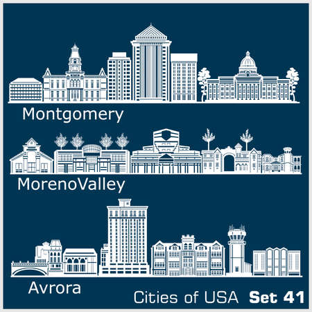 Cities of USA - Aurora, Moreno Valley, Montgomery. Detailed architecture. Trendy vector illustration. 矢量图像