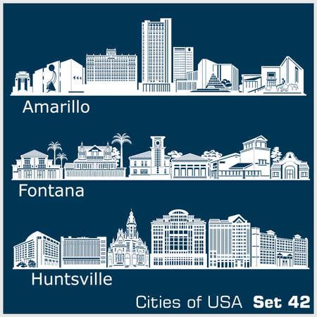 Cities of USA - Fontana, Amarillo, Huntsville. Detailed architecture. Trendy vector illustration.