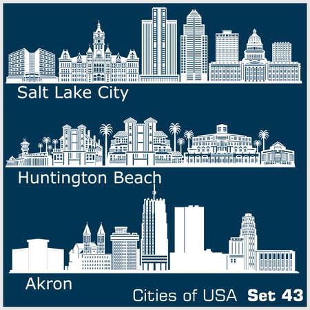 Cities of USA - Huntington Beach, Salt Lake City, Akron. Detailed architecture. Trendy vector illustration.