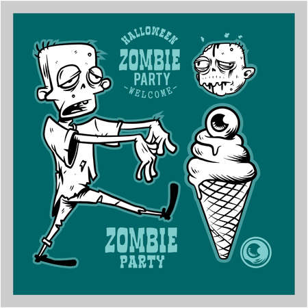 Halloween Party Design template with cartoon zombie 矢量图像