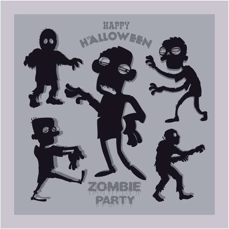 Set of cartoon zombie silhouettes. A collection of zombies for halloween.
