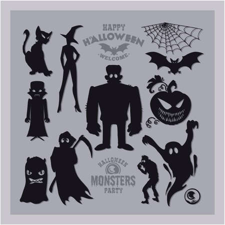 Set of mosters for Halloween. A collection of black silhouettes of mystical creatures. Vector illustration of monsters and witches. 矢量图像
