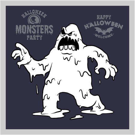 Cartoon monster for Halloween. Black and White Monster - mystical creatures.
