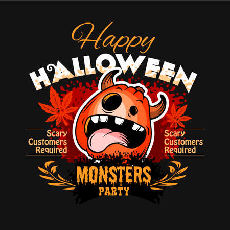 Halloween Party Design template with Pumpkin, funny face.