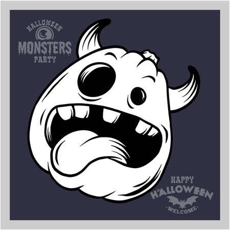 Halloween - Pumpkin, funny face - vector stock illustration
