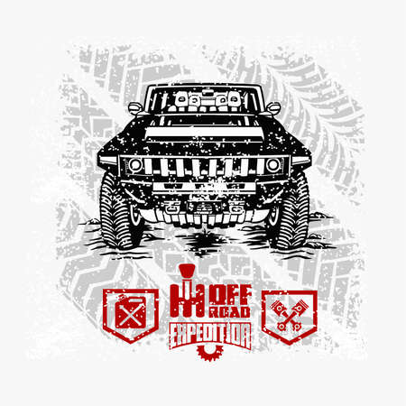 Off road car  template on grunge background - vector stock 矢量图像