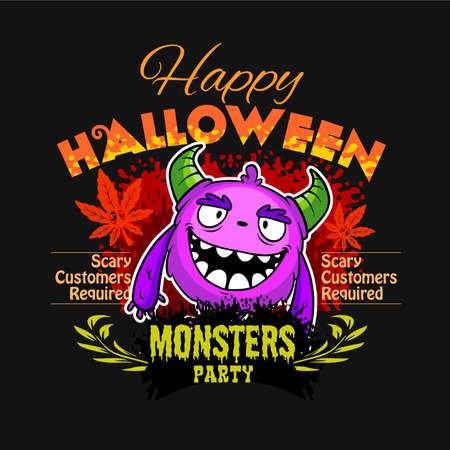 Halloween - color Monster, funny face - color poster vector stock illustration
