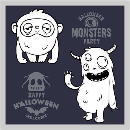 Set of cartoon monsters for Halloween. A collection of black silhouettes of mystical creatures. 矢量图像