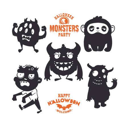 Set of cartoon mystical creatures for Halloween. A collection of black silhouettes on white background. Vector illustration of monsters. 矢量图像