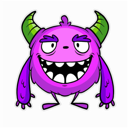 Halloween - color Monster, funny face - vector stock illustration isolated on white