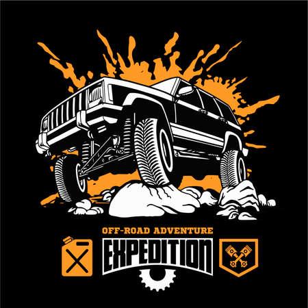 Grand Cherokee - Suv car on black - elements for tshirt and emblem - vector set 矢量图像