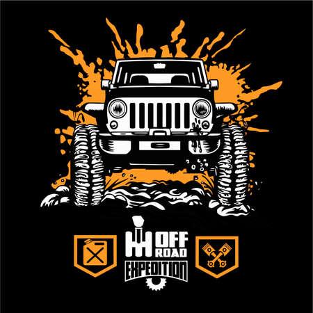 Suv car on black - elements for tshirt and emblem - vector set 矢量图像