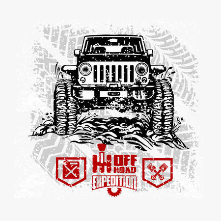 Suv car on white - elements for tshirt and emblem - vector set 矢量图像
