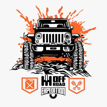 Off-road car and elements for tshirt and emblem - vector set