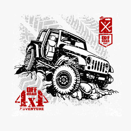 Off road car template on grunge background - vector stock