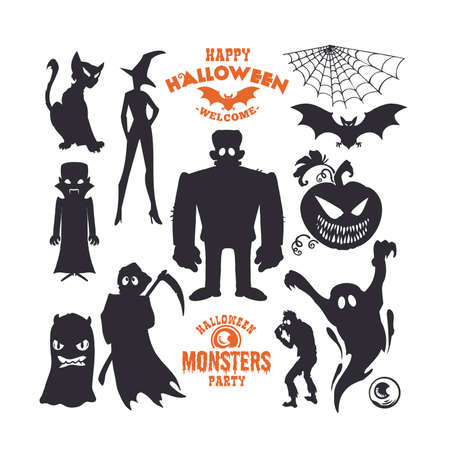 Set of mystical creatures for Halloween. A collection of black silhouettes on light background. Vector illustration of monsters.