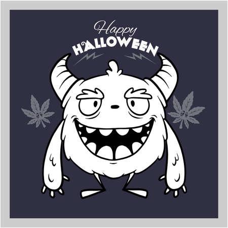Halloween - Monster, funny face - vector stock illustration isolated on white