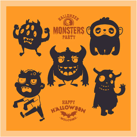 Set of cartoon mystical creatures for Halloween. A collection of black silhouettes on orange background. Vector illustration of monsters. 矢量图像