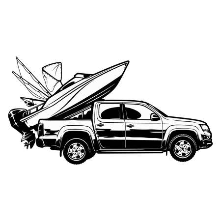Go fishing - boat and suv car - template for fishing design