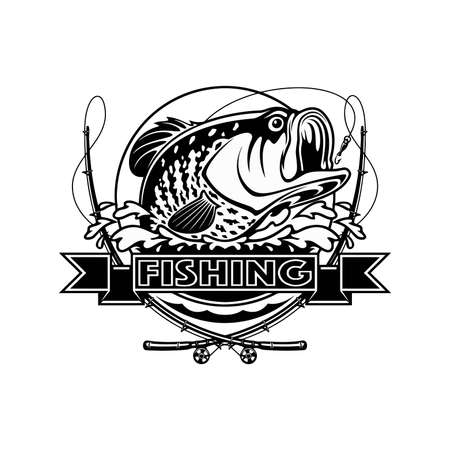 Black and white illustration of Crappie template. Vector illustration can be used for web design, cards, logos and other design. 向量圖像