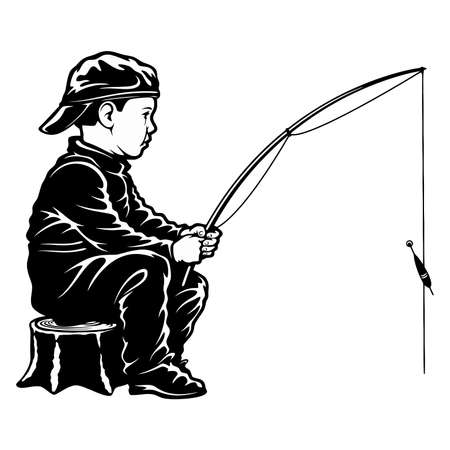 Boy fishing - template for fishing design isolated on white