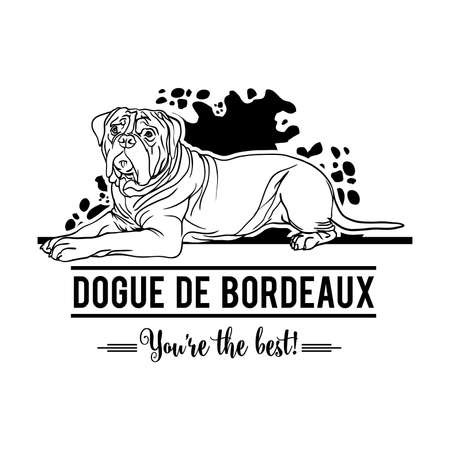 Dogue de Bordeaux Dog Happy Face Paw Puppy Pup Pet Clip Art icon