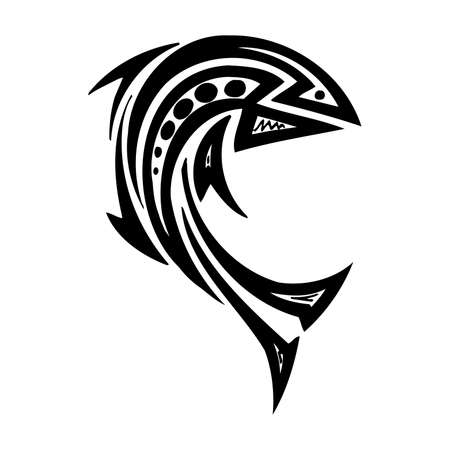 Tribal Fish. Sea Monster SVG Digital - tribal, tattoo Cricut, Cameo, Silhouette