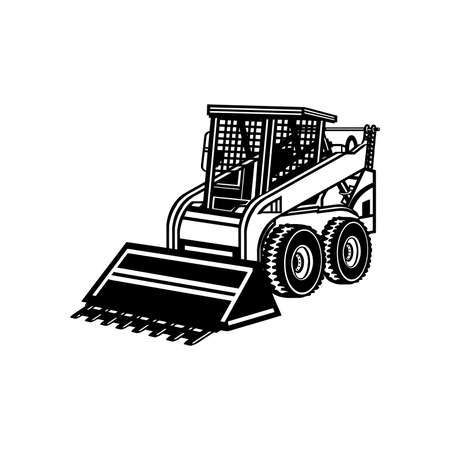 Skid Steer Loader - Construction Vehicle - Machine Equipment Builder. Vector illustration