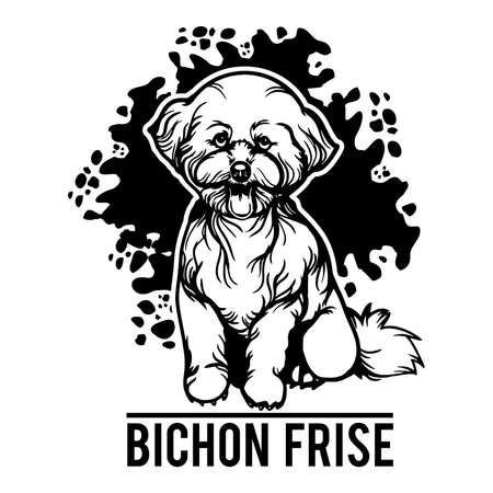 Bichon Frise - Dog Happy Face Paw Puppy Pup Pet Clip Art Vektorgrafik