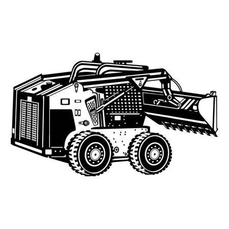 Skid Steer Loader - Construction Vehicle - Machine Equipment Builder. Vector illustration