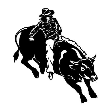 Rodeo Cowgirl riding a bull vector on white