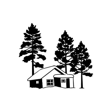 Snow-covered house, Chalet, mountain landscape - Wildlife Stencils - mountain Silhouettes for Cricut, Wildlife clipart, png Cut file, vector, vinyl shirt design.
