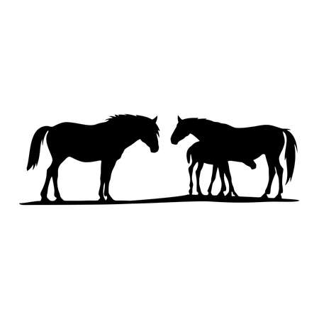 Horse, Mare and foal - horse family Wildlife Stencils - forest Silhouettes vector