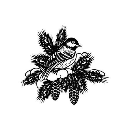 Titmouse bird - Winter Bird, Wildlife Stencils for Christmas Bird Decor, winter decor, Clipart Vector