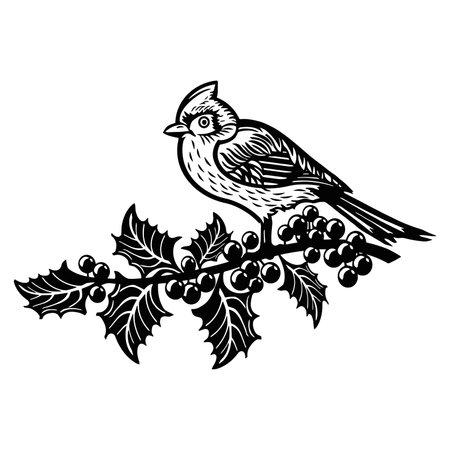 Red Cardinal bird - Winter Bird, Wildlife Stencils for Christmas Bird Decor, winter decor, Clipart Vector