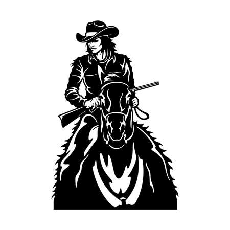 Cowgirl and horse, Retro black and white style Poster.