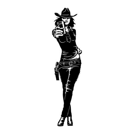Bang-Bang cowgirl, Girl, Wild West , Cricut Silhouette svg, Vector Clip Art