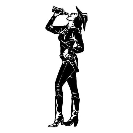 Cowgirl - Girl and whiskey, Wild West, Cowboy Silhouette, Vector Clip Art